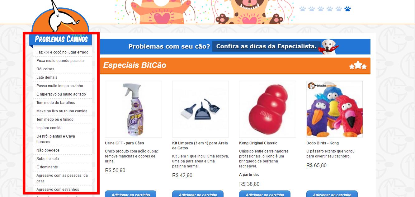 categorização de itens do e-commerce