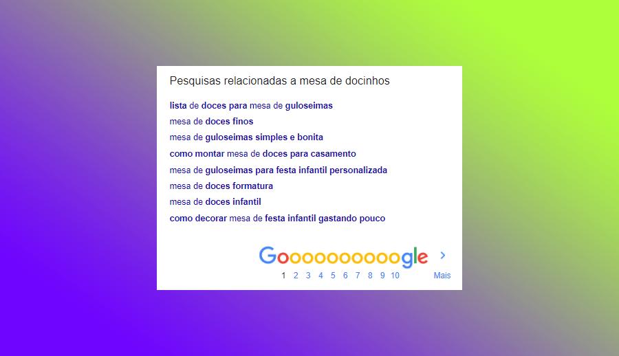 sugestão de resultados no rodapé do google