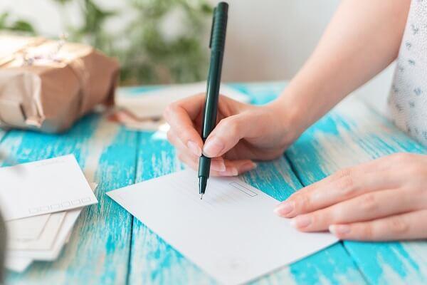 carta de agradecimento ao cliente do e-commerce escrita à mão